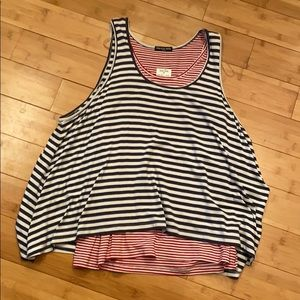 "Red, White, & Blue ""Layered"" Tank Sz L NWT"
